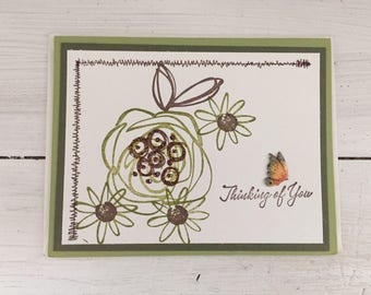 Friendship greeting card, handmade, thinking of you, butterfly, floral, abstract, copper, glitter, daisies, roses