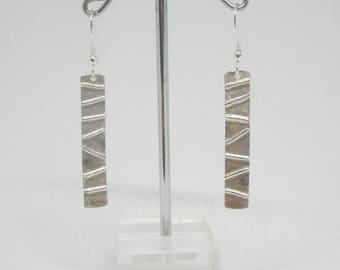 Fused silver drop earrings, contemporary earrings, unique Scandinavian design, UK shop