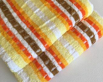 Vintage New multicoloured striped NOS bath towels