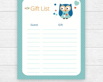 Gift List, Printable Baby Shower ,Gift Checklist, Baby Gift Tracker, Guest Gift, List Sheet Owl Gift List, Baby Shower, Gift Checklist