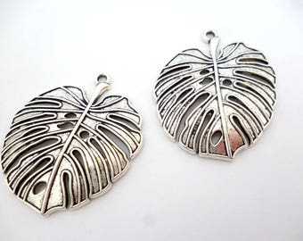 """Silver Tone Charm Pendant_ PM0021584/221486_Silver Leaf Charm of 42 mm / 1,69"""" _ pack 3 pcs"""
