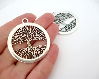 "Round Silver tone Charm Pendant_PM0021/5547/65234_Large Tree charm of 42 mm / 1,65""_ pack 2 pcs"