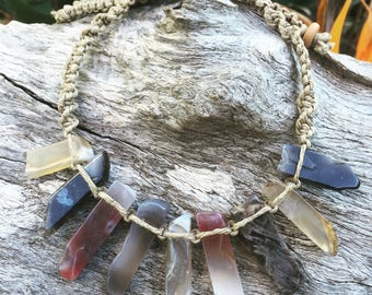 Handmade Hemp Macrame Necklace with Botswana Agate Crystal Beads