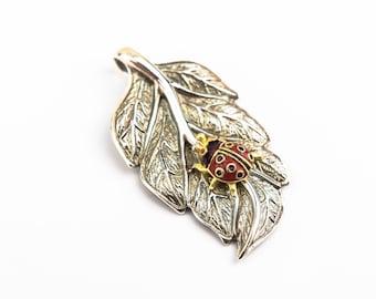 Sterling Silver Leaf and Ladybug Pendant