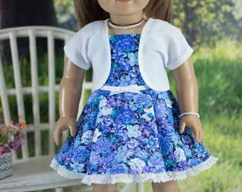 SUNDRESS Dress in Periwinkle Blue Floral with JACKET Jewelry and SANDALS Option for American Girl or 18 inch Doll