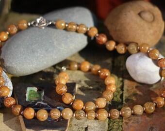 Orange Jade Lotus Bead Necklace, Bracelet, Necklace & bracelet set, Hand carved beads, Silver Necklace, Antique Necklace, Lotus Bead