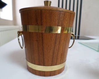 Vintage ice bucket wood & metal coopered barrel look