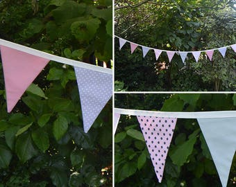 Handmade Fabric Bunting Pretty Pink Floral/Dots/Plain & Grey Dots/Plain Design 18 Medium Double-Sided Flags for Home, Parties and more!