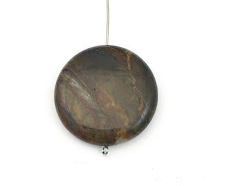 1 apple jasper stone beads/ 30mm coin #PP127-1