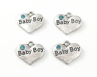 4 baby boy heart charm, antique silver # CH 240