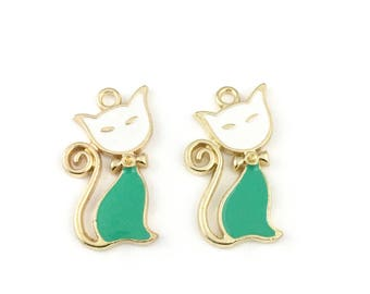 2 cat gold and enamel charms, 15mm x 29mm # CH 521