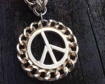"PEACE SIGN PENDANT on 16"" Gold Tone Chain"