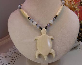 Cream Color Carved Turtle and Beaded Necklace