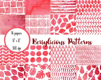 Watercolor Scrapbook Paper, Red and White, Watercolor Digital Paper, Watercolor Patterns Paper, Digital Paper Pack