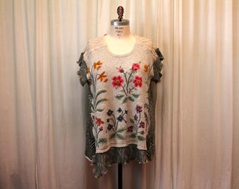 Artsy boho top womens sweater vest Embroidered vest Vintage refashion Upcycled Boho Shabby chic vest Romantic Oatmeal green natural 3X-4X