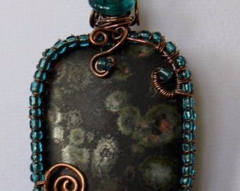 Beaded Antique Copper and Natural Orbicular Jasper Pendant
