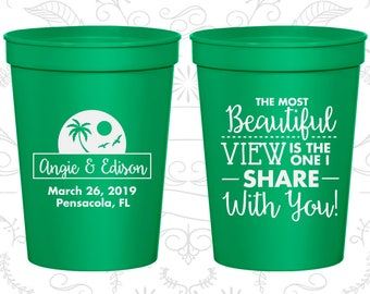 Green Stadium Cups, Green Cups, Green Party Cups, Green Wedding Cups (375)