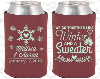 We Go to Together Like Winter and a Sweater, Wedding Items, Winter Wedding Favors, Snowflake Wedding, Christmas Wedding Favors (499)
