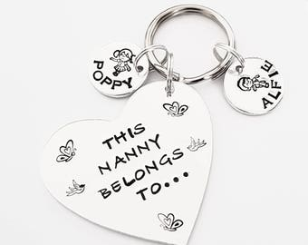 Nanny gift This Nanny belongs to personalised hand stamped keyring can be  with Mummy mum Grandma Aunty great mothers day present for her