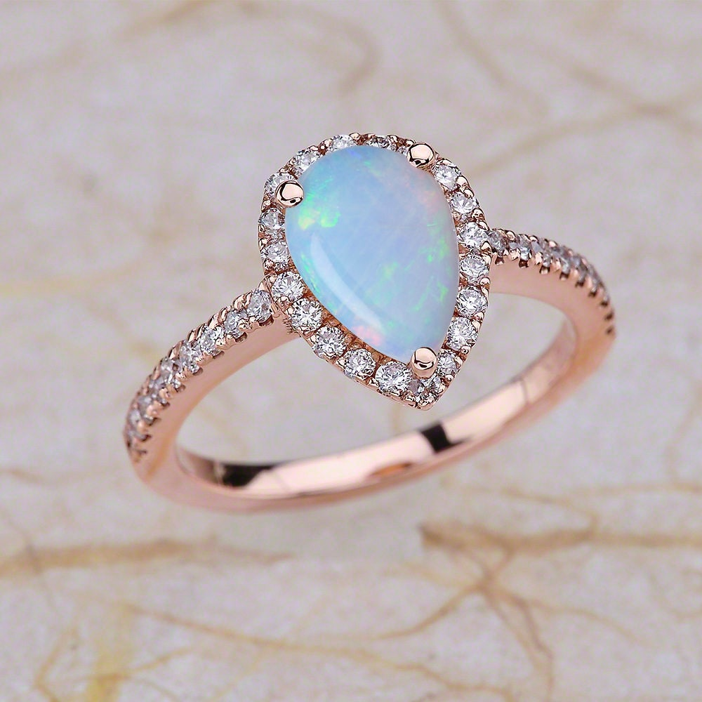 Rose Gold Engagement Ring Opal Teardrop Engagement Ring