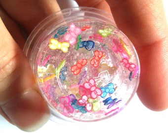 Clear Slime rainbow bow slime slice flowers fimo cute girly knot clear glitter slime confetti slimes Slime party favor birthday gift rainbow