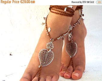 """SALES-20% Salini""""  Barefoot Sandals, Barefoot shoes, soft crystal, anklet, barefoot sandal, Hippie Sandals, Foot Jewelry, Toe Thong"""