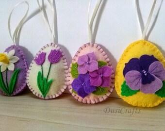 Felt Easter decoration, Felt Easter eggs with flowers, tulip, daffodil, pansy, Easter ornaments, Felt Easter decor / set of 4