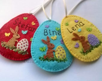 Easter gift etsy personalized easter gift personalised easter ornament personalized easter egg felt egg easter candy negle Images