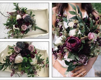 Artificial x1 Brides bouquet with greenery foliage deep plum and wine flowers,roses, berries, peonies,eucalyptus country garden rustic theme