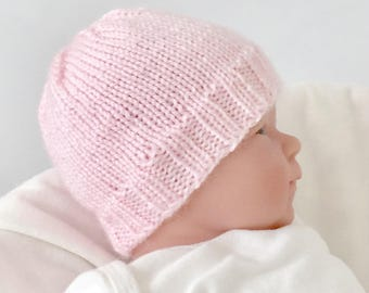 Newborn knitted hat, infant hospital hat, baby girl beanie, baby girl birth gift, hand knit infant hat,  pink baby hat