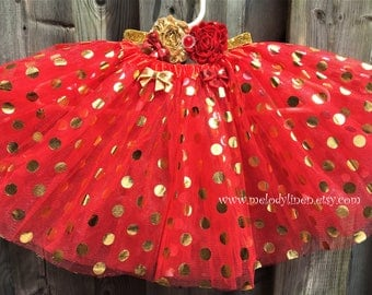 Red with gold polka dots tutu headband gold tutu gold tutu birthday tutu party tutu baby tutu red gold outfit