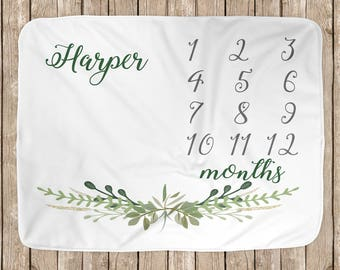 Green Leaves Border Baby Milestone Blanket // Baby Greenery // Baby Shower Gift Personalized Milestone Blanket BB005