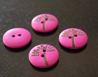 """10 """"tree"""" wooden buttons. (ref:2837)."""