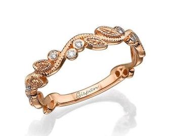 Leaf Wedding Rins Rose Gold, Wedding Band, Woman Wedding Ring, Leaves Ring, Antique Ring, Vintage Ring, Art deco ring, Promise Ring, Gift