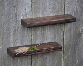 Refined Organic Weathered Edge Chestnut Floating Shelves 18 x 5