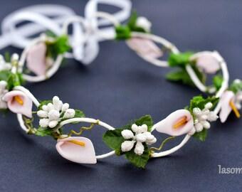 2 white Berry calla flower Crown
