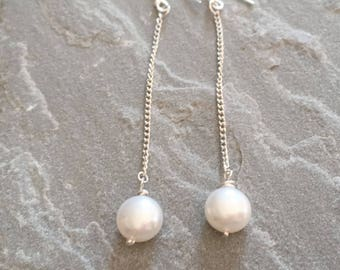 Long Pearl Chain Earrings, Sterling Silver White Pearl Earrings, Silver Chain Earrings, Pearl Jewellery Gift For Her, Bridal Jewelry