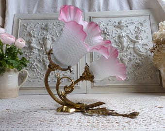 Antique french bronze wall light. Pink tulip sconce   Double branch french swan neck light sconce. Louis XVI gilded bronze ribbon motif.