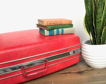 Vintage Suitcase   Extra Large Red Samsonite Suitcase   Vintage Luggage   Home Decor/Storage