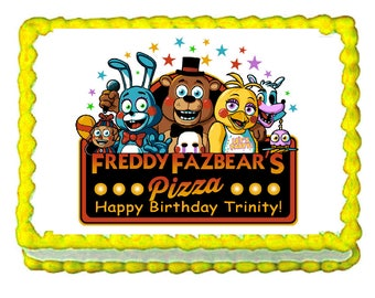FNAF Five Nights at Freddy's banner party decoration edible cake image cake topper frosting sheet
