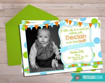 1st Birthday Invitation, Boy Invitation, Photo Invitation, 1st Birthday, Printable, Digital, Print file, invite, Birthday Invitation, Party