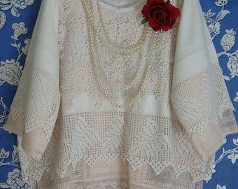 Beautiful Off White Pale Pink Vintage Cotton Linen Lace Oversized Romantic Top Tunic Boxy