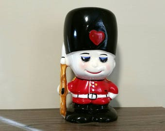 Vintage British Themed Coin Bank, Queen's Royal Guard Ceramic Figural Piggy Bank, 1960s Decor Toy Soldier