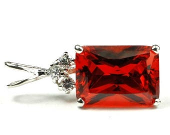 On Sale, 20% Off, Created Padparadscha Sapphire, Sterling Silver Pendant, SP042