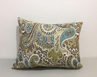 "12x16"" Paisley Lumbar Pillow cover, Pillowcase, lumbar case, brown, Ivory, kiwi and turquoise"