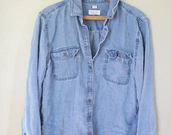 vintage 1990's oversized blue chambray denim industrial work shirt