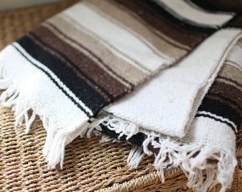 vintage striped black brown  & white mexican fringe blanket
