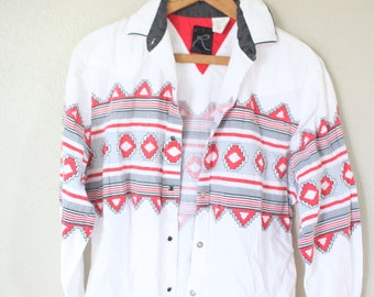 vintage aztec pearl snap button western shirt womens