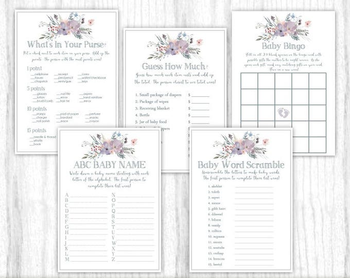 Five Printable Party Games, Baby Shower Games, Purple and Gray Watercolor, Floral, 5x7 size