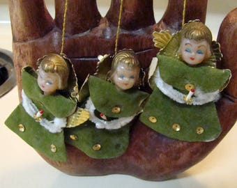 Vintage Angel ornaments, Angel Christmas ornaments, set of 3